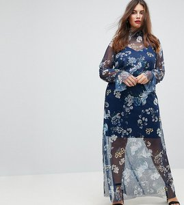 Read more about Asos curve printed mesh maxi dress with shirred neck - print