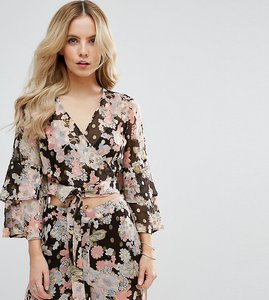 Read more about Asos petite floral printed soft ruffle blouse co-ord - multi