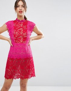 Read more about Asos lace occasion colour block mini dress - red pink