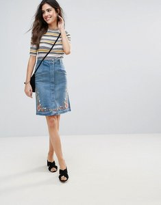 Read more about Soaked in luxury embroidered denim pencil skirt - medium blue denim
