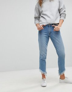 Read more about Only straight leg frayed jeans - light blue denim