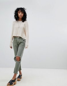 Read more about One teaspoon freebirds highwaisted skinny jean with exposed knees and raw hem - khaki