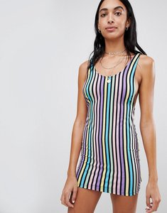 Read more about Motel bodycon mini dress in rainbow candy stripe