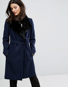 Read more about French connection platform faux fur collar wool mix coat - nocturnal