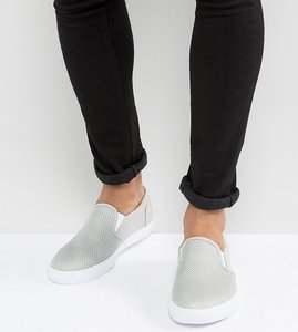 Read more about Asos wide fit slip on plimsolls in grey mesh - grey