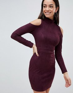Read more about Ax paris cold shoulder long sleeve bodycon dress - plum