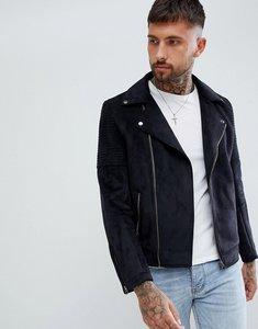 Read more about Asos design faux suede biker jacket in black - black