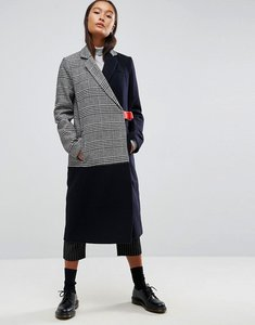Read more about Asos coat in cutabout check with contrast belt - multi