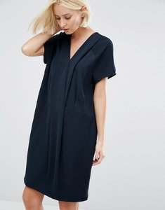 Read more about Selected fikka dress with pleat detail at neckline - navy