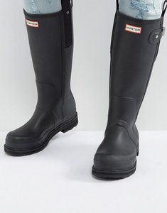 Read more about Hunter original pulltab wellington boots in black - black