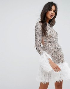 Read more about Asos long sleeve embellished feather hem mini dress - silver nude