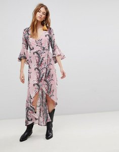 Read more about Glamorous wrap dress with front split in palm floral - pink palm floral