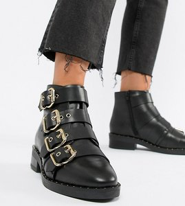 Read more about Asos design avid wide fit leather studded ankle boots - black leather