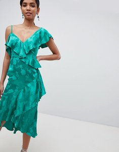 Read more about Asos design occasion ruffle midi dress in satin jacquard - green