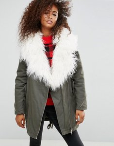 Read more about Asos parka with faux mongolian collar - khaki
