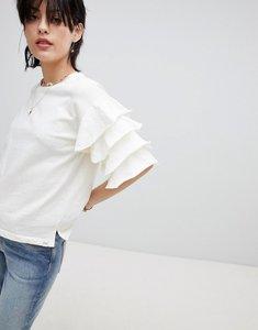Read more about Maison scotch pirate ruffle sleeve t-shirt - 01 off white