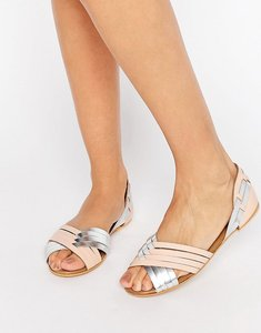 Read more about Asos juza leather summer shoes - nude silver