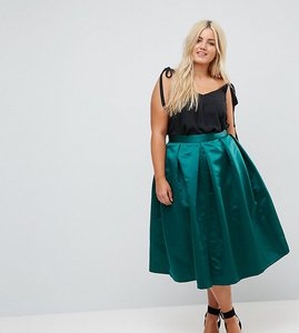 Read more about Closet london plus full prom sateen midi skirt - emerald green
