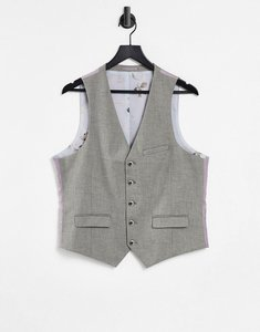 Read more about Harry brown taupe textured stretch skinny fit wedding suit waistcoat - multi