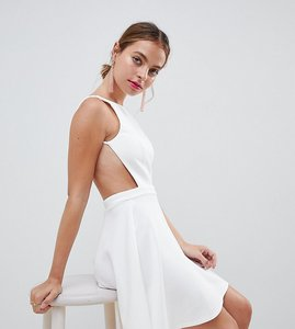 Read more about Asos design petite racer front mini dress with circle skirt - white
