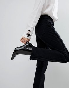 Read more about Pieces straight leg washed jean with raw seam - black