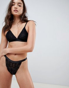 Read more about Glamorous lace high leg thong - black