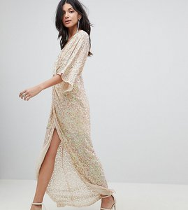Read more about Asos design tall sequin kimono maxi dress - nude