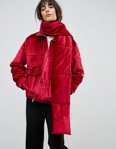 Read more about House of sunny padded jacket in velvet with detachable scarf - red
