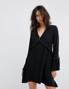 Read more about Prettylittlething fringe detail smock dress - black