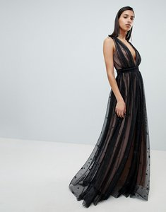 Read more about City goddess contrast glitter star print maxi dress with v back - black