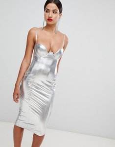Read more about Rare london high shine plunge pencil dress - silver