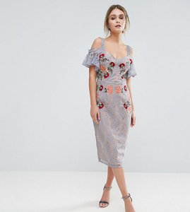 Read more about Hope ivy embroidered lace midi dress with contrast straps and tie cold shoulder