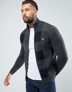 Read more about Fred perry gingham lambswool bomber in grey - dark charcoal marl