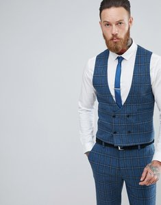Read more about Asos skinny suit waistcoat in blue gradient wool blend check - blue
