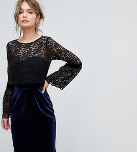 Read more about Paper dolls 2 in 1 midi lace dress with fluted sleeve and velvet skirt - black