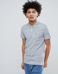 Read more about Tommy jeans flag logo pique polo icon back collar in grey marl - light grey heather