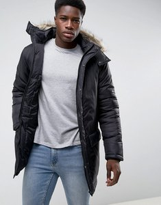 Read more about French connection parka with faux fur hood - black