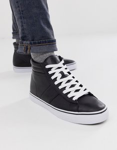 Read more about Polo ralph lauren shaw leather high top trainers in black