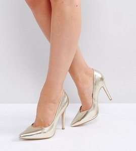 Read more about New look wide fit metallic pointed heeled court shoes - gold
