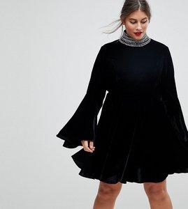 Read more about Asos curve velvet skater with embellished high neck mini dress - black