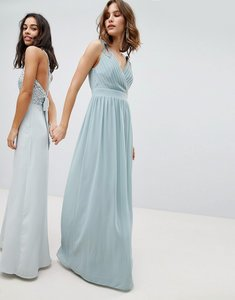 Read more about Tfnc wrap front maxi bridesmaid dress with embellishment - green lily