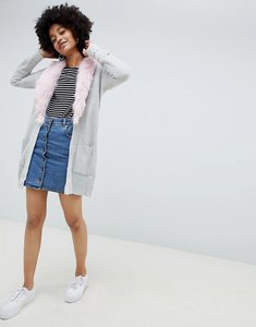 Read more about Brave soul hawk cardigan with detachable faux fur collar - light grey pink