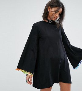 Read more about Rokoko long sleeve swing dress with rainbow pom pom trim - black