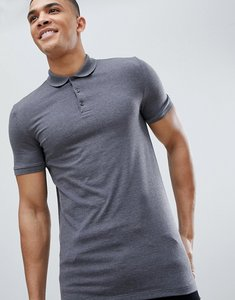 Read more about Asos design muscle fit jersey polo in grey - charcoal marl
