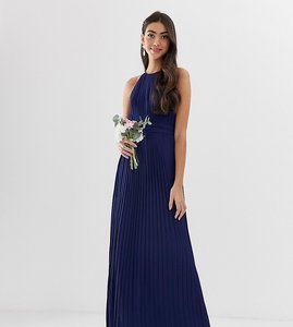 Read more about Tfnc tall bridesmaid exclusive high neck pleated maxi dress in navy