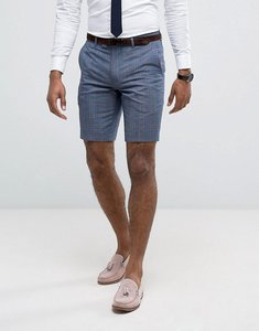 Read more about Farah skinny smart shorts in check - blue