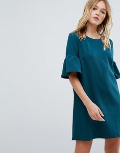 Read more about Pull bear frill sleeve tee dress - green
