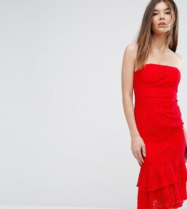 Read more about Love triangle bandeau midi dress with double frill - red