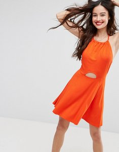 Read more about Asos mini swing halter neck sundress with cut out - burnt orange