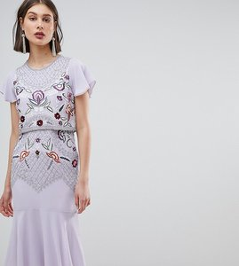 Read more about Frock and frill allover beaded embroidered midi dress - lilac